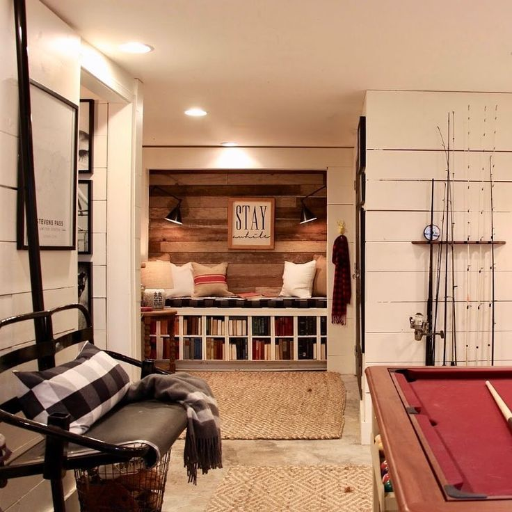 The basement/mud room/home to our 🐰/🐶 area/storage room/reading nook/sports equipment/multi purpose space. The most hardworking room in our home!