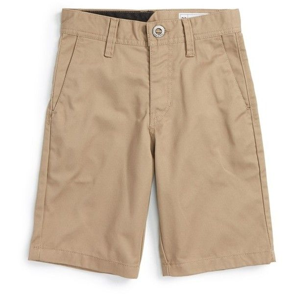 Boy's Volcom Chino Shorts ($24) ❤ liked on Polyvore featuring men's fashion, men's clothing, men's shorts, black, volcom mens shorts, mens chino shorts and mens lightweight cargo shorts