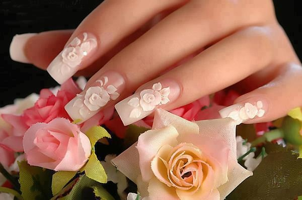 i hate nails this long but i looooooooooooooooooooooooooooooooooooooooooooooove these roses i might get something done like this just cuz it looks so pretty