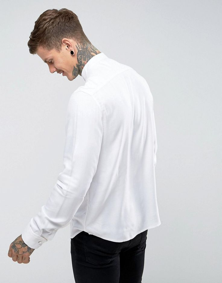 ASOS Regular Fit Viscose Shirt With Pleat Detail And Wing Collar - Whi