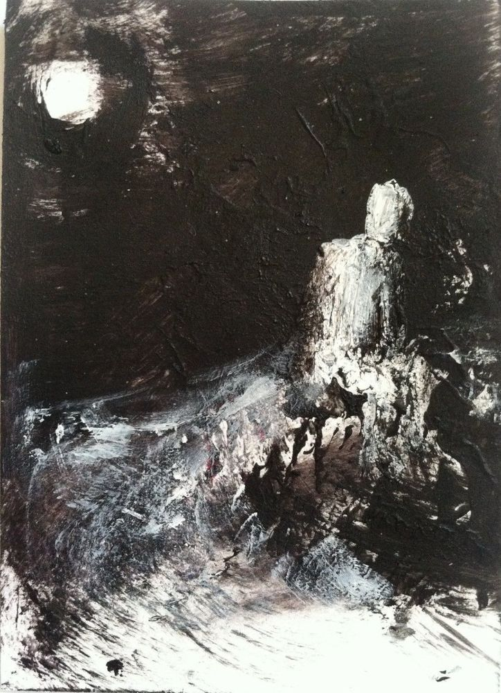 """LUNACY #7""abstract, horror art,   original art,ACEO  jack larson 3.5""x2.5"" #Abstract"