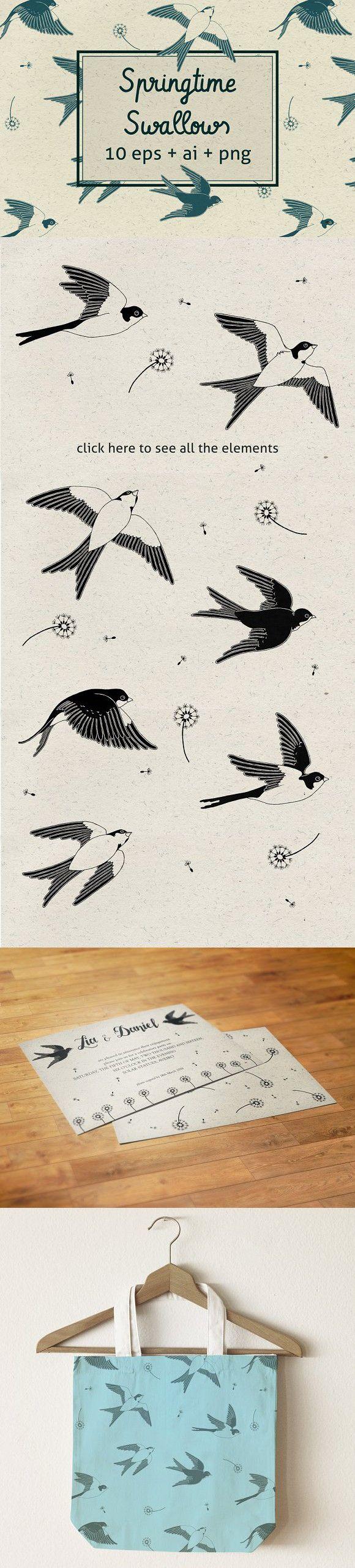 Springtime Swallows. Wedding Card Templates