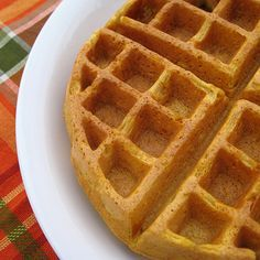 Pumpkin Belgian Waffles - another great Thanksgiving breakfast idea!