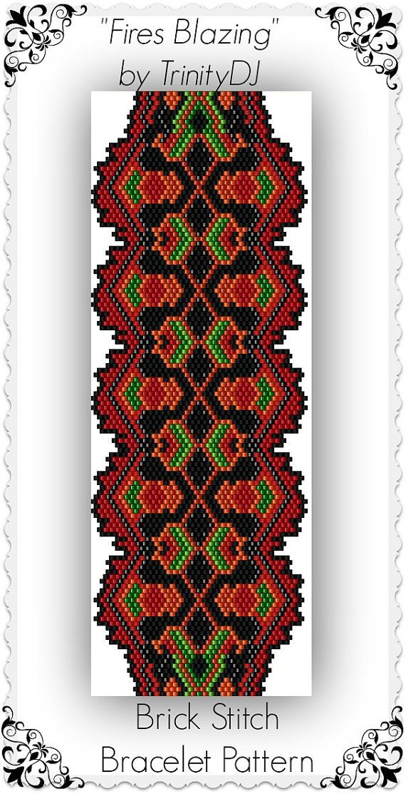 BP-BR-131 - Fires Blazing - Brick stitch Bracelet Pattern - One of A Kind In the Raw Design