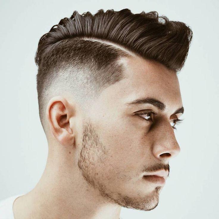 degradé-progressif-homme-cheveux-courts-côtés-crête-longue