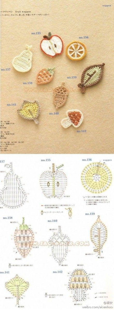FREE PATTERN : crochet mini applique ( apple, leaf, orange, etc. )