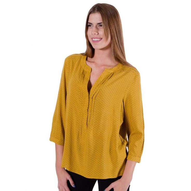 FRANSA Γυναικείο μουσταρδί πουκάμισο, μάο γιακά