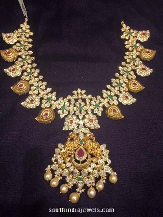 Antique white stone mango mala necklace