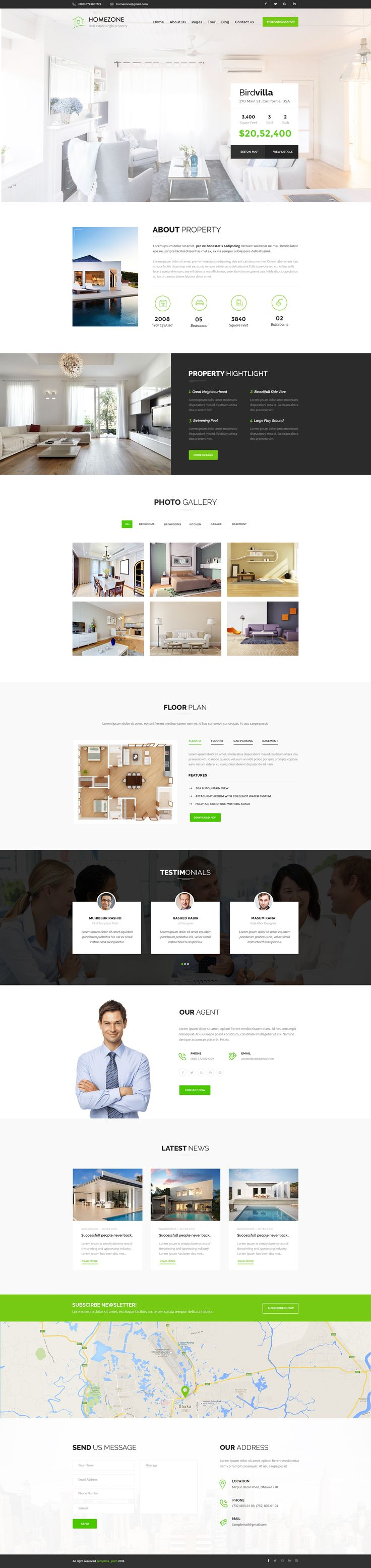 Homezone is a professional, modern crafted PSD template | Download : https://themeforest.net/item/homezone-single-property-real-estate-psd-template/16722027?ref=sinzo