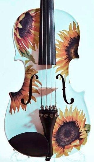 Sunflower Delight White Cream Violin Outfit by Rozannaviolins, $299.00