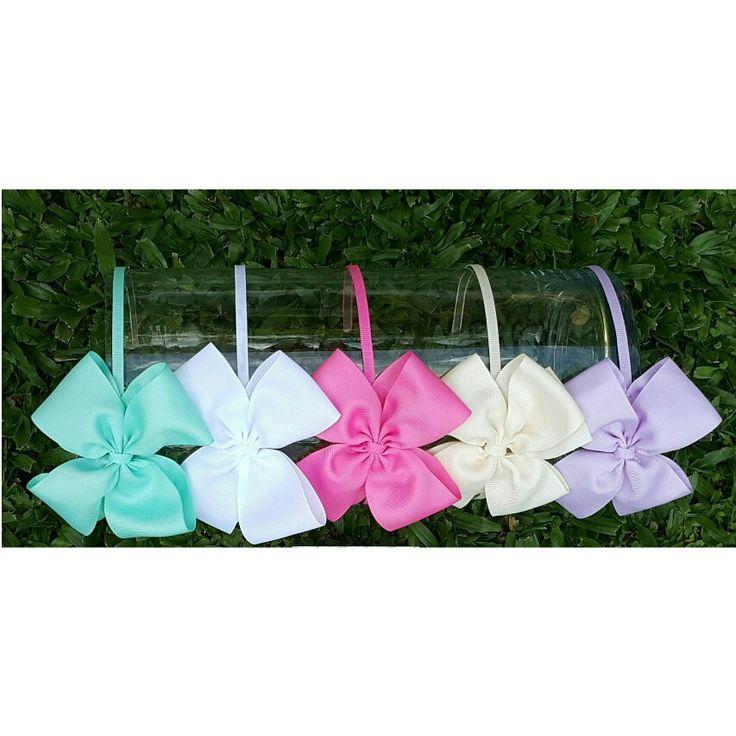 Vincha moño mediano gross. tiffany - blanco - rosa chicle - beige - lila - Moños para niñas - Bows for girls #accesorios para nenas @denenasaccesorios