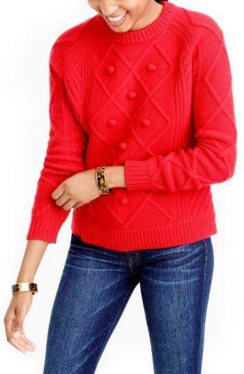 Women's J.crew Hawthorne Cable Pom-Pom Sweater