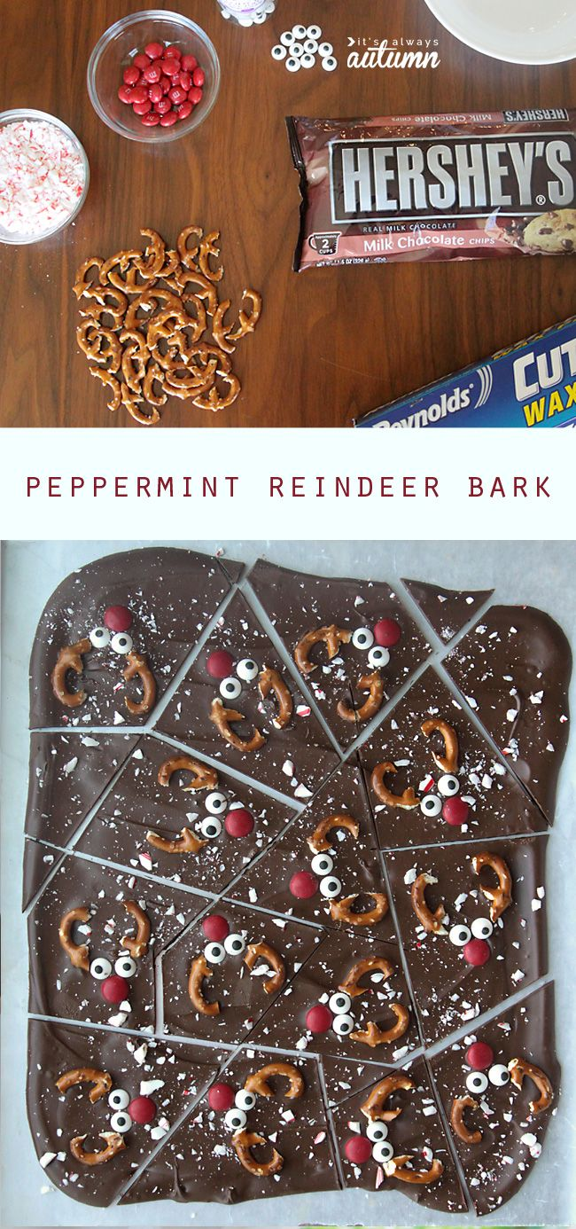 This is so cute! Chocolate peppermint reindeer bark is a fun Christmas treat that's super easy to make. My kids would love it!                                                                                                                                                                                 More