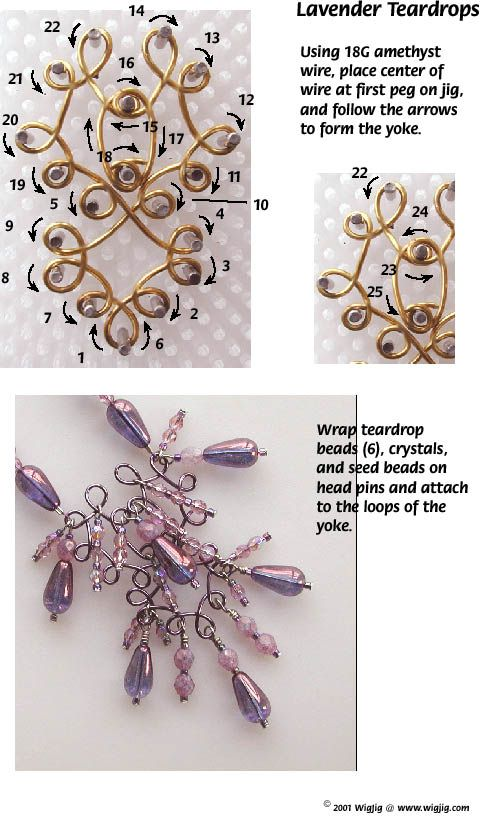 Lavender Teardrop Wire and Beads Necklace Jewelry Making Project made with WigJig tools and jewelry supplies.