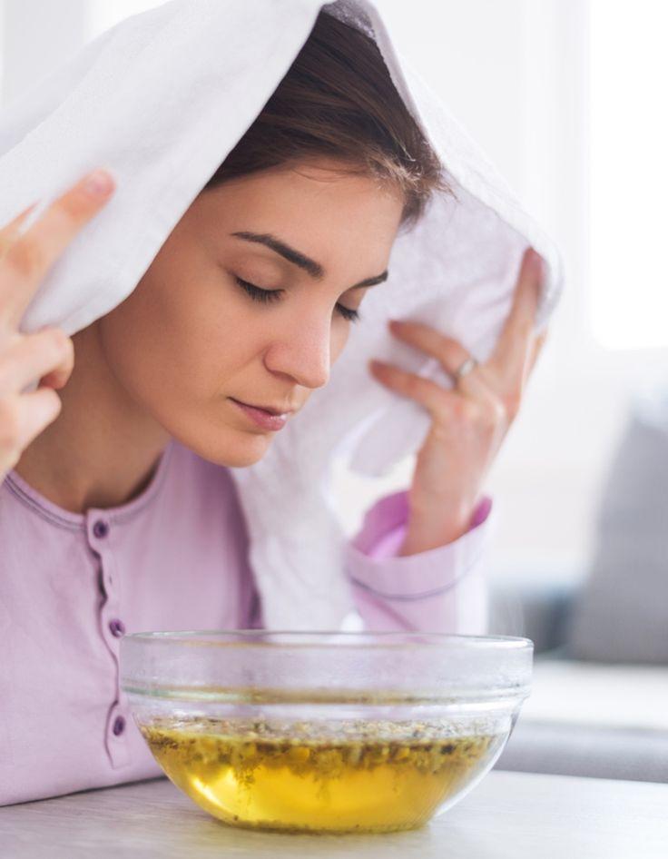 das Dampfbad hilft bei Schnupfen und Erkältung