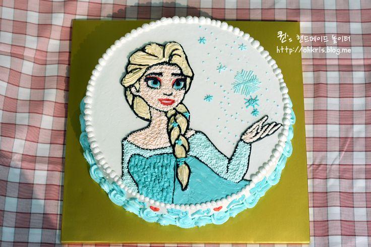 겨울왕국 엘사 케이크, Frozen Elsa Cake, elsa, chatactercake, buttercreamcake
