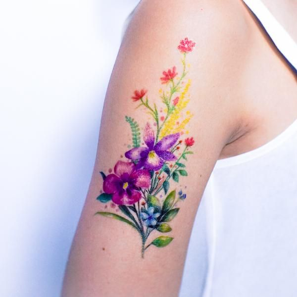 Watercolor Bouquet Of Flower Tattoos Trendy Tattoos Wrist