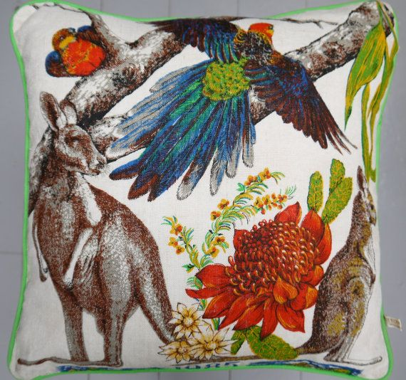 1985 Australian Calendar Vintage Fabric Cushion by MuttonandLamb, £68.00
