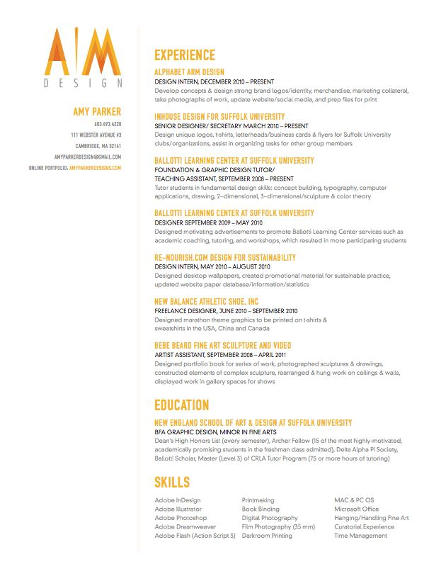 creative resume with a splash of color