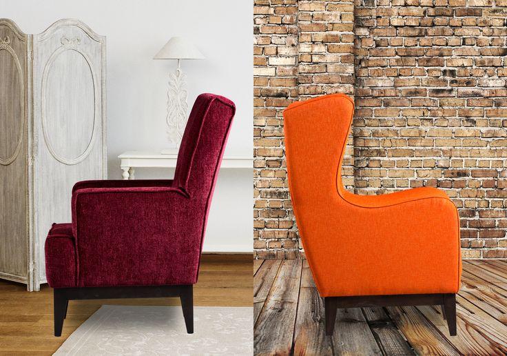 De Classy en de Lobby zijn twee opvallende en lekker ruime fauteuils. Door het houten onderstel krijgen de fauteuils een eigentijdse uitstraling.  Meubitrend - Meubelen - Fauteuils - Wooninspiratie - Rood - Oranje - Kleurrijke meubels - Landelijk - Modern