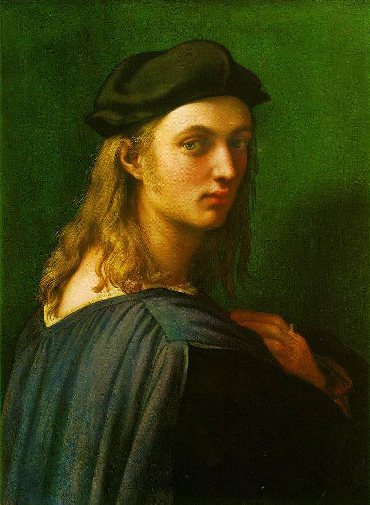 """7.Raphael.Bindo Altoviti.1514. Ce portrait de Raphael incarne en quelque sorte l'accomplissement du portrait italien,selon les idéaux de la Renaissance: beauté, mouvement, vérité et présence vivace du modèle sont autant de traits que louaient les érudits de l'époque,et que Raphael agence ici dans un tout harmonieux: on note le caractère """"vivant"""" du sujet, qui résulte entre autre du travail sur l'inclinaison de la tete,vivement tournée vers le spectateur:le modele est comme saisi sur le vif."""
