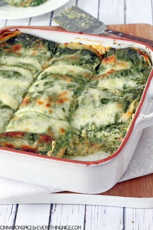 Butternut Squash Lasagna with Parmesan Spinach Sauce