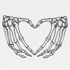 Skeleton Heart Hands | Urban Threads: Unique and Awesome Embroidery Designs
