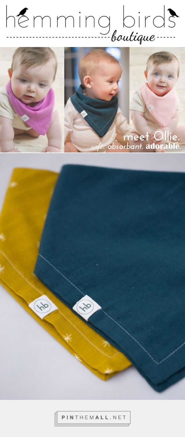 Ollie Drool Bandana Bib - Hemming Birds Boutique.  Double gauze, super soft, gender neutral, great gift!!