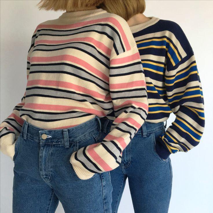 Stripe knitwear twin styling www.adererror.com  #ader #brand #fashion #styling #knitwear #pink
