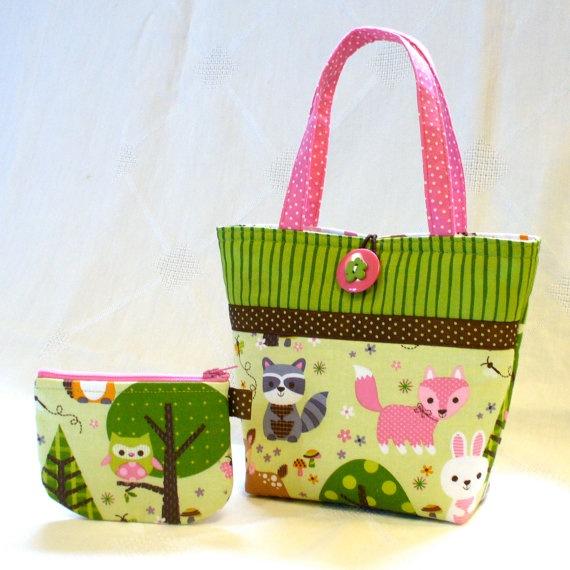 Cute Little Girls Purse Woodland Animals Mini Tote Bag and Coin Purse Set Fox Raccoon Pink Lime Brown Handmade Kids Purse MTO