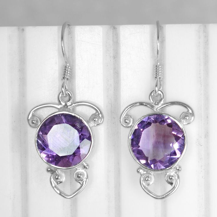 925 Sterling Silver Natural Purple Amethyst Superb Women Earrings Pair Jewelry $ #Unbranded