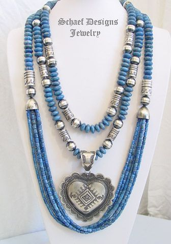 Schaef Designs denim lapis and sterling silver tube bead multi strand long necklaces with Vince Platero LARGE sterling silver heart pendant