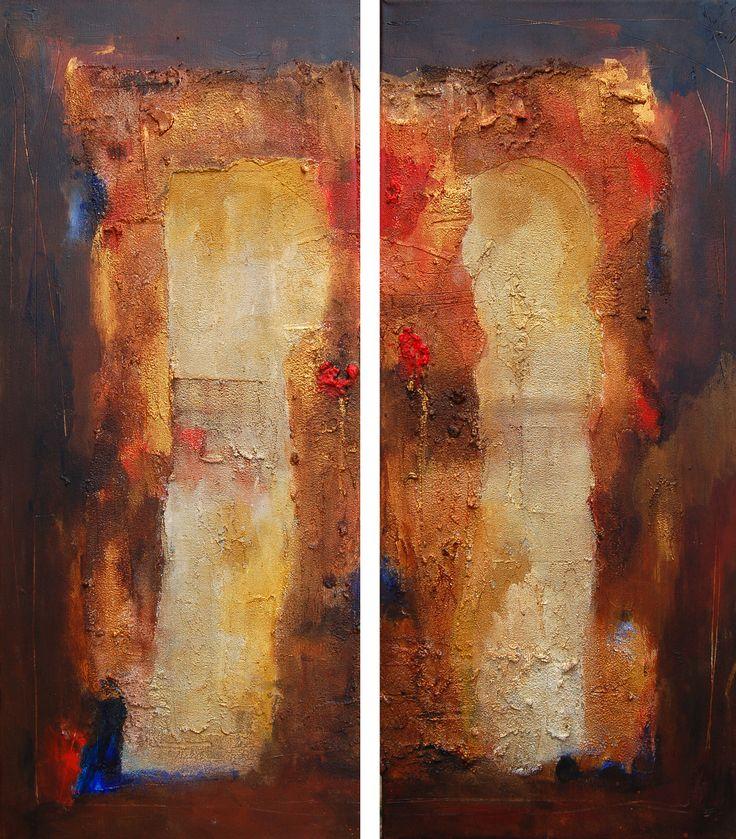 Verbonden, tweeluik, acrylic, mixed media