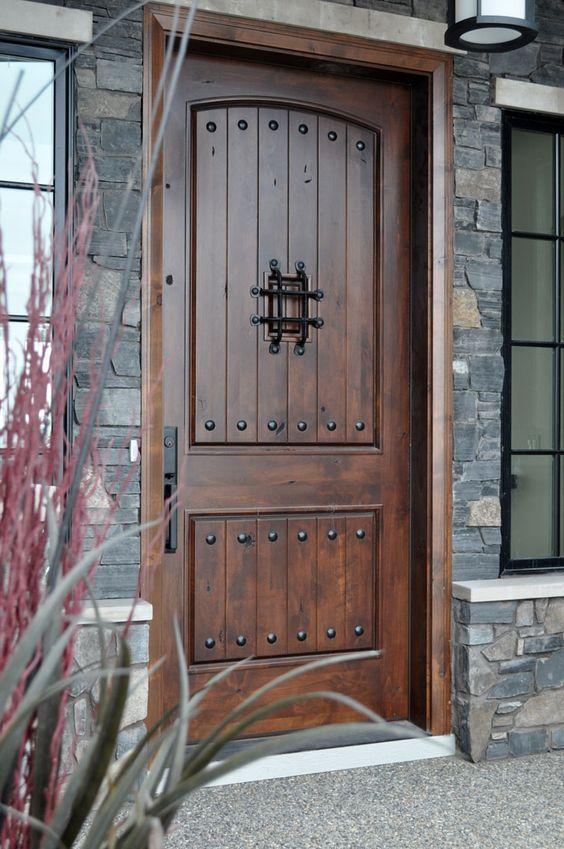 Custom Made Exterior Front Entry Wooden Doors, Wood Glass Door