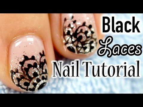 Glitter Gradient & Black Lace How-to Japanese Nail Art [English Subs] ラメグラデーションと黒レースネイル - YouTube