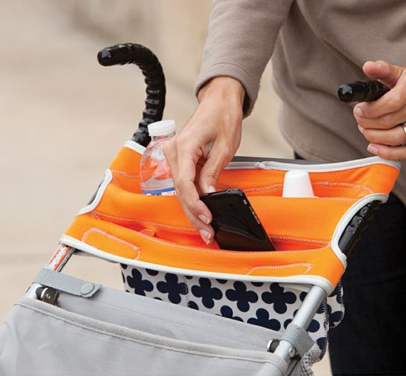 Infantino Umbrella Stroller Organizer ~ is a genius stroller storage product designed exclusively for umbrella strollers. Its unique flex material and tension fit design ensures a secure, no-slip fit, insulated drink holders and multiple storage pockets for you and baby, keep everything you need within reach