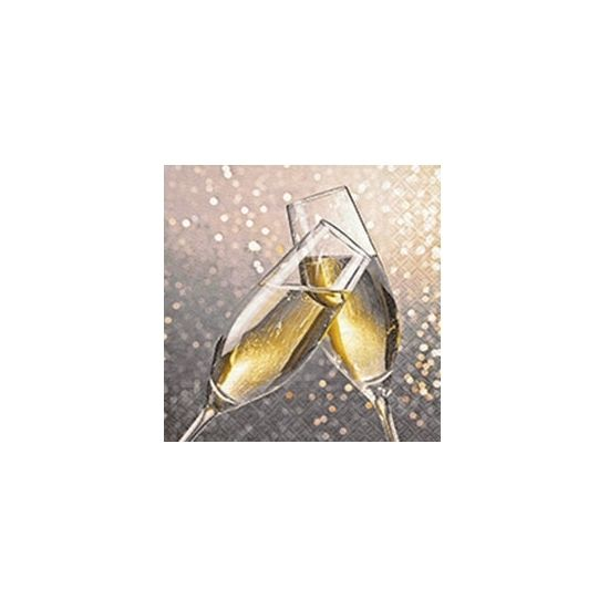 Jaarwisseling servetten champagne  Servetten met champagne glazen. Deze 3-laagse servetten met champagne glazen opdruk hebben een formaat van ongeveer 33 x 33 cm en zijn verpakt per 20 stuks.  EUR 3.50  Meer informatie