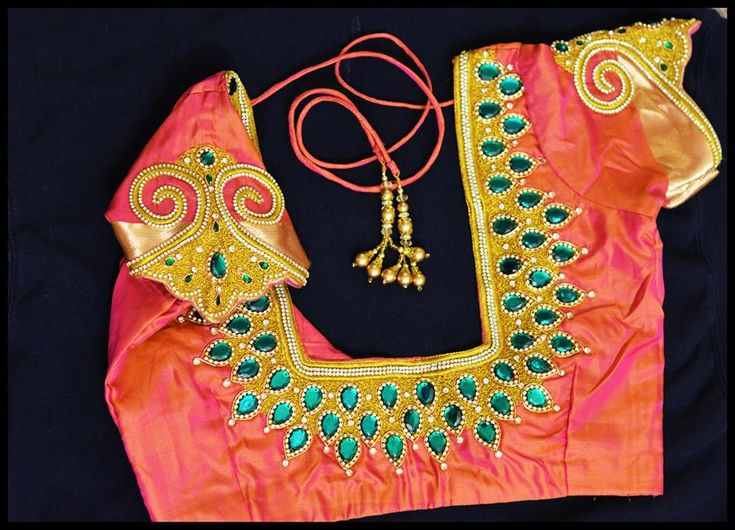 kundan work zardsoi embroidery blouse | BacklessBlouse.com