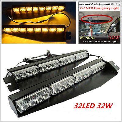 Luxury led Amber Visor Light Strobe Light Bar Emergency Warning Lamp For Car Truck