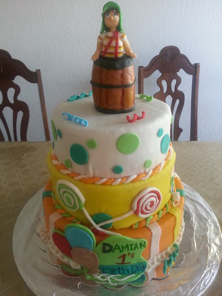 El Chavo del 8 three tier marble and red velvet cake..