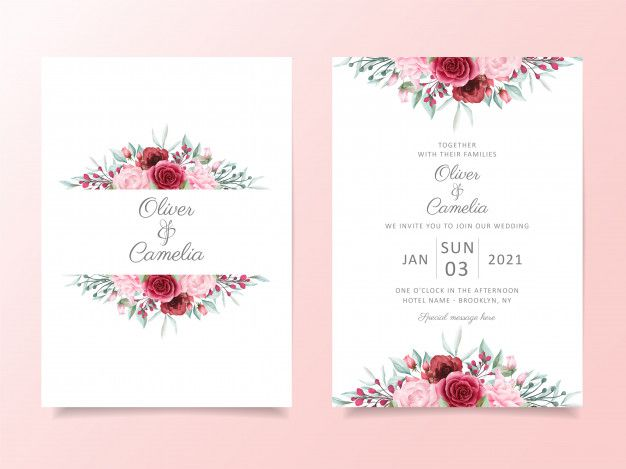 Floral Wedding Invitation Card Template Set With Watercolor