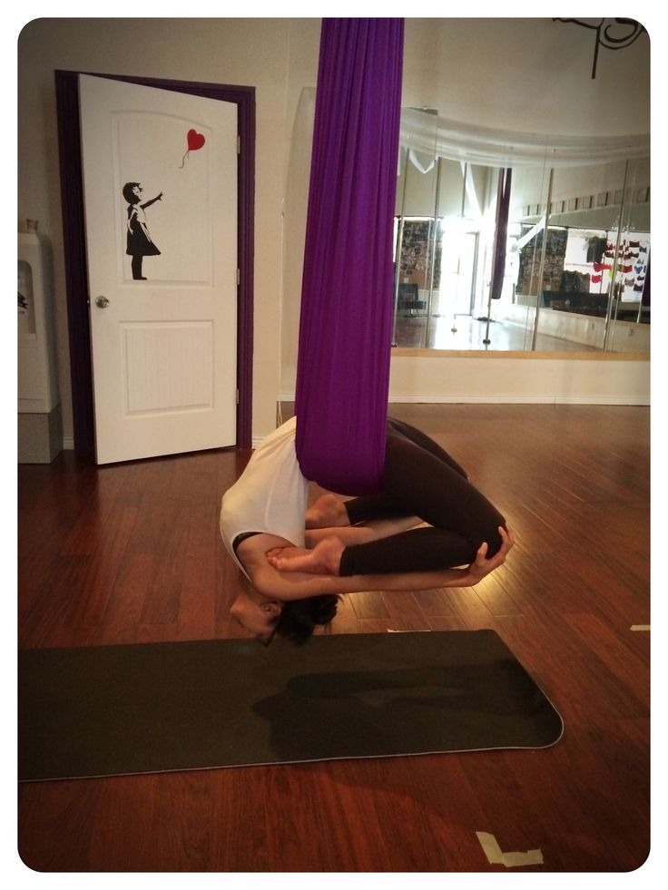NJ in a deep backbend variation in Intro to Aerial Hammock