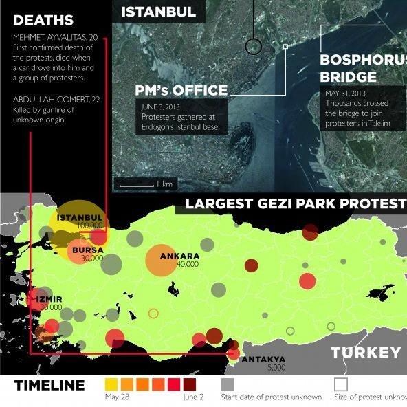Infographics of protests in Turkey Gezi Park #direngeziparki #occupygezi @Linda Bruinenberg Taylor @Sharon Macdonald Pula @Devin Hunt Hanson #direnankara