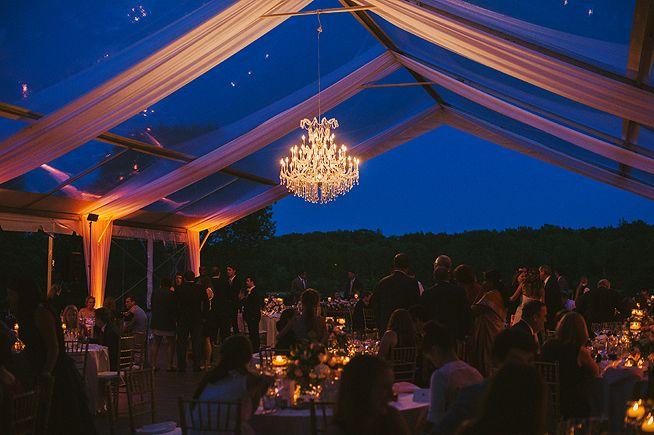Kohler, Wisconsin wedding. Riverbend mansion, American Club. Outdoor tent reception and chandelier. Anna Page Photography.