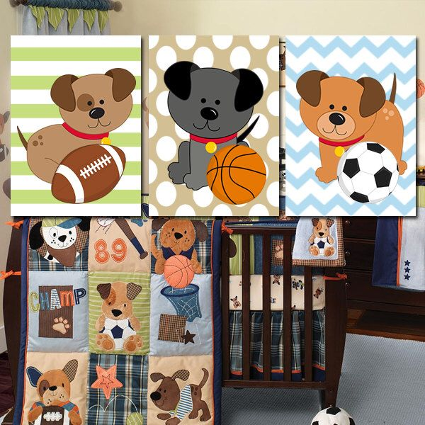 BABY BOY Nursery Dogs Wall Art, Puppy Sports Art Bedroom Child DOG Puppies Theme Chevron Pattern Set of 3 Crib Canvas or Prints by TRMdesign on Etsy https://www.etsy.com/listing/206169827/baby-boy-nursery-dogs-wall-art-puppy