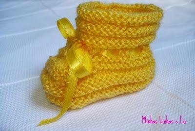 Minhas linhas e eu: Receita de sapatinho para bebê em tricot - pap sapatinho sanfonado (ou com gominhos)