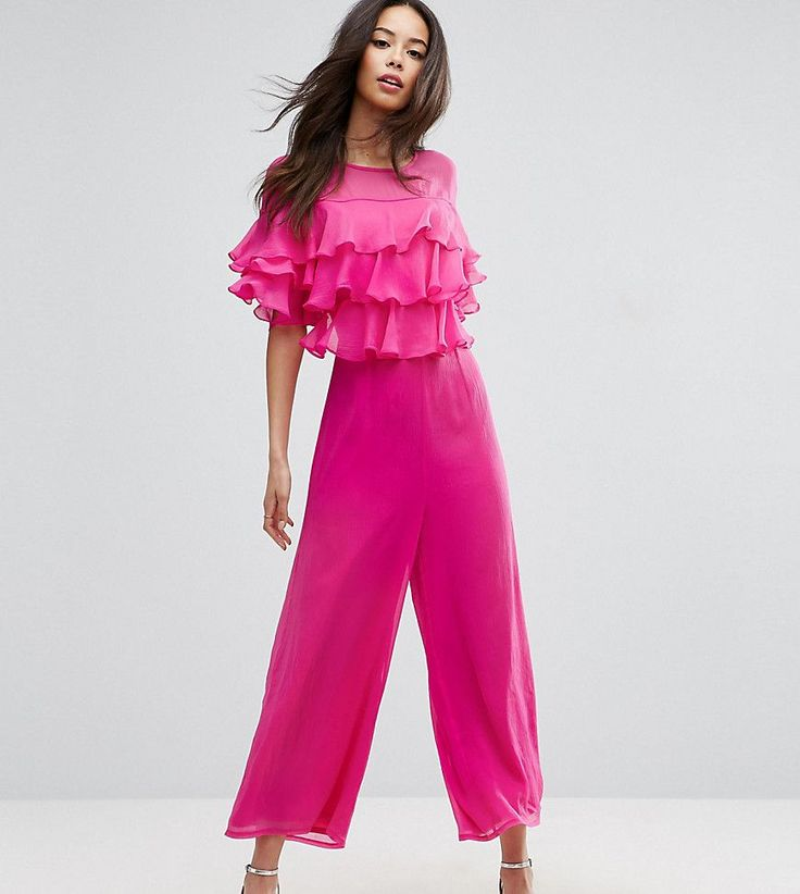 ASOS TALL Ruffle Jumpsuit with Culotte Leg - Pink