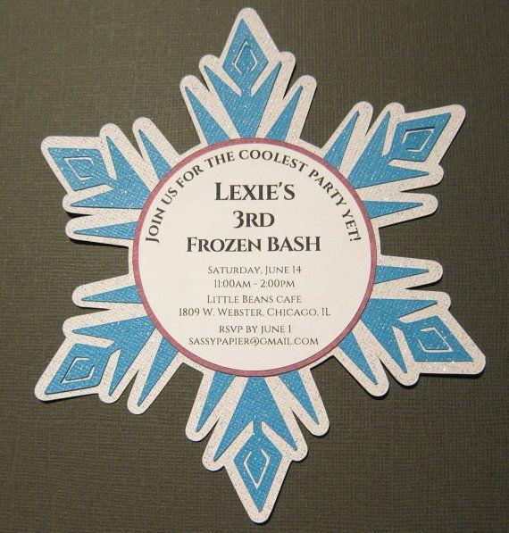 Frozen Inspired Snowflake Invitation by SassyPapier on Etsy, $1.95