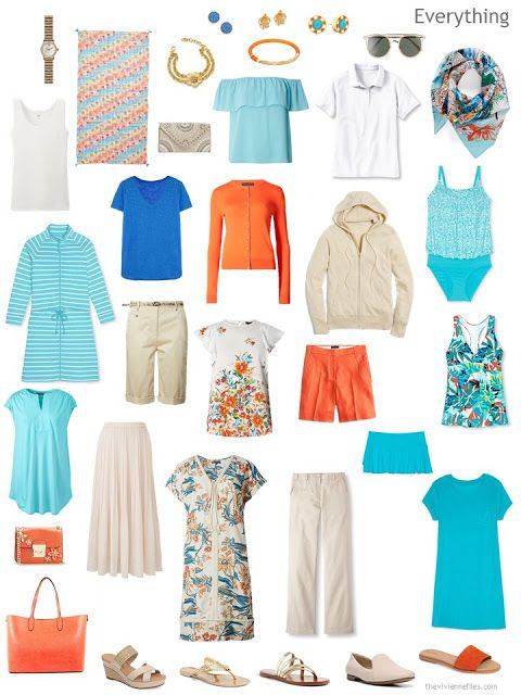 a travel capsule wardrobe in beige and white with blue, aqua and orange accessories