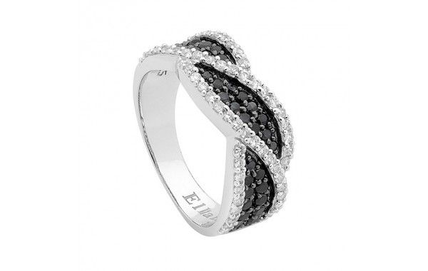 Black and White CZ twist design ring.
